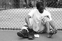 Players practice for the United States Homeless World Cup team in New York City on May 4, 2005.