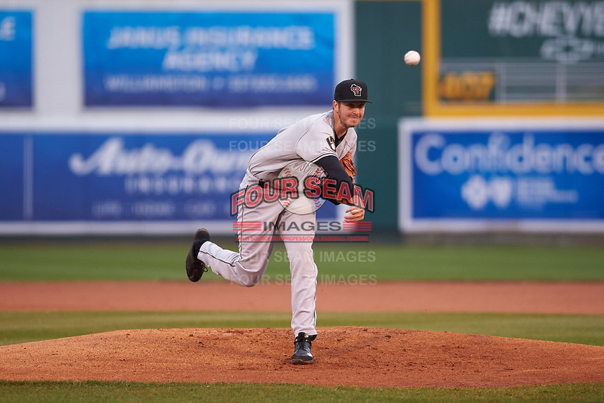 Wisconsin Timber Rattlers starting pitcher Adam Hill (15) during a Midwest League game against the Lansing Lugnuts at Cooley Law School Stadium on May 2, 2019 in Lansing, Michigan. Lansing defeated Wisconsin 10-4. (Zachary Lucy/Four Seam Images)