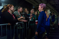 CHICAGO, IL - OCTOBER 5: Megan Rapinoe #15 of the United States talks to the media at Soldier Field on October 5, 2019 in Chicago, Illinois.