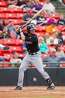 Michael Marjama (12) of the Kannapolis Intimidators at bat against the Hickory Crawdads at L.P. Frans Stadium on May 25, 2013 in Hickory, North Carolina.  The Crawdads defeated the Intimidators 14-3.  (Brian Westerholt/Four Seam Images)