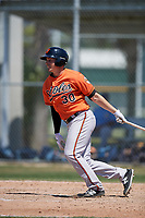 Baltimore Orioles Jason Heinrich (30) follows through on a swing during a minor league Spring Training game against the Tampa Bay Rays on March 29, 2017 at the Buck O'Neil Baseball Complex in Sarasota, Florida.  (Mike Janes/Four Seam Images)