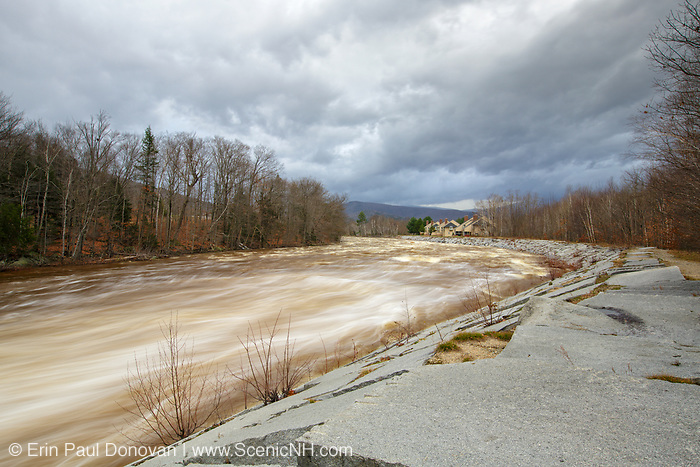 The East Branch of the Pemigewasset River in Lincoln, New Hampshire after hours of heavy rains and strong winds from Hurricane Sandy in 2012. This hurricane caused massive destruction along the east coast.