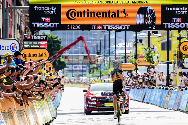 Sepp Kuss (USA) Jumbo-Visma wins solo Stage 15 of the 2021 Tour de France, running 191.3km from Ceret to Andorre-La-Vieille, France. 11th July 2021.  <br /> Picture: A.S.O./Pauline Ballet   Cyclefile<br /> <br /> All photos usage must carry mandatory copyright credit (© Cyclefile   A.S.O./Pauline Ballet)