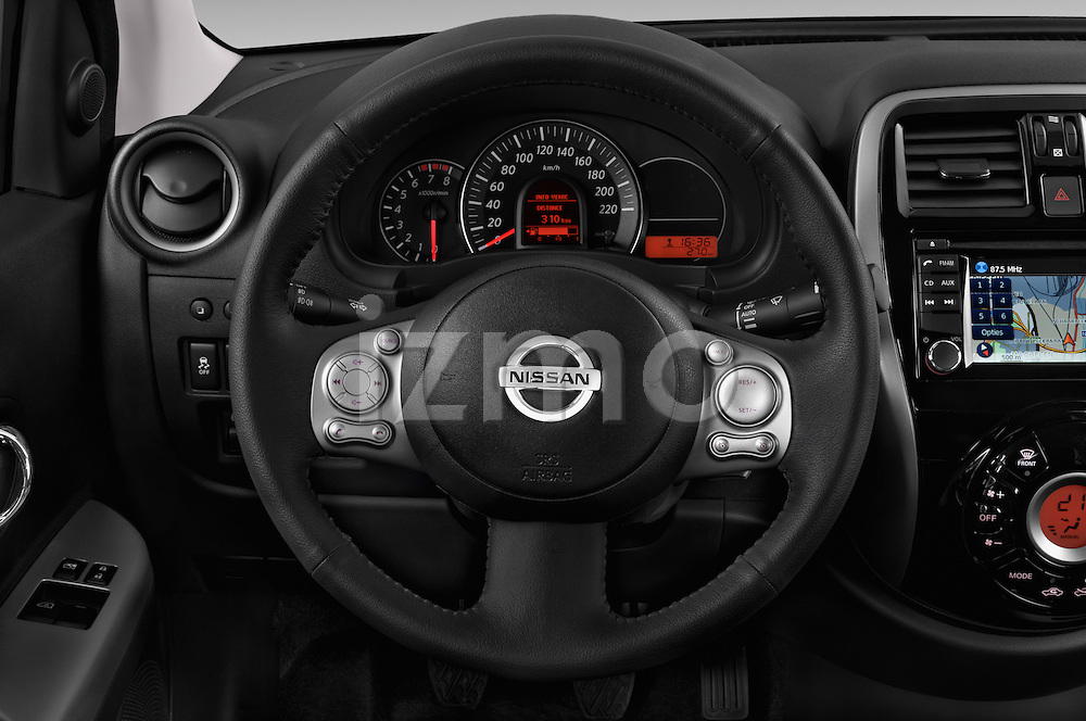 Steering wheel view of a 2013 - 2014 Nissan MICRA 5 Door Hatchback 2WD