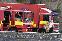 """Pictured: Police and fire services at Pembroke Castle, west Wales, UK. Friday 13 July 2018<br /> Re: Pembroke Castle is closed while an unknown package is investigated by police.<br /> Officers were called to Castle Terrace at around 1pm after the discovery and the castle was shut for the day.<br /> Dyfed Powys Police said it does not believe there is a risk to the public.<br /> A spokesman said """"precautions are being taken"""" after an item which potentially contained an unknown substance was found.<br /> """"There will be a high presence of emergency services as the item is investigated,"""" he added."""
