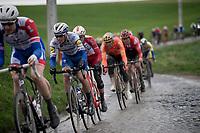 previous years race winner Zdenek Stybar (CZE/Deceuninck - QuickStep) in a pursuit group over the Ruiterstraat cobbles<br /> <br /> 75th Omloop Het Nieuwsblad 2020 (1.UWT)<br /> Gent to Ninove (BEL): 200km<br /> <br /> ©kramon