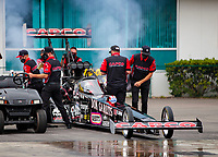 Sep 27, 2020; Gainesville, Florida, USA; Crew members for NHRA top fuel driver Steve Torrence in his Don Garlits themed dragster during the Gatornationals at Gainesville Raceway. Mandatory Credit: Mark J. Rebilas-USA TODAY Sports