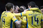 Ross County v St Johnstone…18.02.17     SPFL    Global Energy Stadium, Dingwall<br />Chris Kane is mobbed by his team mates after scoring the late winning goal<br />Picture by Graeme Hart.<br />Copyright Perthshire Picture Agency<br />Tel: 01738 623350  Mobile: 07990 594431