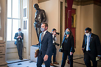 United States Representative Eric Swalwell (Democrat of California) and the other Impeachment Managers walk to the House chamber during a vote on H. Res. 24, Impeaching Donald John Trump, President of the United States, for high crimes and misdemeanors, at the U.S. Capitol in Washington, DC, Wednesday, January 13, 2021. Credit: Rod Lamkey / CNP /MediaPunch