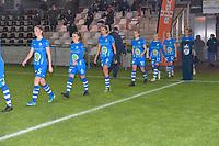 Gent's team entering the pitch in Corona style with Gent's Fran Meersman (5)   Gent's Emma Van Britsom (6)   Gent's Jolet Lommen (9)   Gent's Chloe Vande Velde (10)  Gent's Imani Prez (11)   Gent's Jasmien Mathys (12)   Gent's Lobke Loonen (19)  pictured during a female soccer game between  AA Gent Ladies and Oud Heverlee Leuven on the 9th matchday of the 2020 - 2021 season of Belgian Scooore Womens Super League , friday 11 th of December 2020  in Oostakker , Belgium . PHOTO SPORTPIX.BE | SPP | DIRK VUYLSTEKE