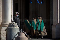 Changing of the Guards at Palazzo del Quirinale (Quirinale's Palace). <br /> <br /> Rome, 26/01/2021. Today, the Italian Prime Minister, Giuseppe Conte, visits the Palazzo del Quirinale to hand his resignation to the President of the Republic, Sergio Mattarella. The Italian Government crisis has begun last week (1. & 2.) after the defection of the two Cabinet ministers belonging to the tiny party, Italia Viva (Italy Alive), led by former Italian Prime Minister Matteo Renzi.<br /> <br /> Footnotes & Links:<br /> 1. 18.01.2021 - Italian Government Crisis - Vote Of Confidence At The Chamber Of Deputies https://lucaneve.photoshelter.com/gallery/18-01-2021-Italian-Government-Crisis-Vote-Of-Confidence-At-The-Chamber-Of-Deputies/G0000.TN.AdgsXkU/C0000GPpTqAGd2Gg<br /> 2. 19.01.2021 - Italian Government Crisis - Vote Of Confidence At The Senate.. & San Luigi Dei Francesi https://lucaneve.photoshelter.com/gallery/19-01-2021-Italian-Government-Crisis-Vote-Of-Confidence-At-The-Senate-San-Luigi-Dei-Francesi/G0000N_JzGyjqXGs/C0000GPpTqAGd2Gg