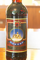 A bottle of Fernet brandy. Kantina e Pijeve Gjergj Kastrioti Skenderbeu Skanderbeg winery, Durres. Albania, Balkan, Europe.