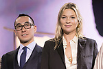 (L to R) Lawrence Ho chairman and CEO of Melco Resorts and Entertainment Ltd. and model Kate Moss,attend the opening ceremony for the KIMONO ROBOTO exhibition at Omotesando Hills on November 30, 2017, Tokyo, Japan. The exhibition features 13 kimonos created by experts using traditional methods and a humanoid robot dressed in traditional kimono performing in the middle of the hall. The exhibition runs til December 10. (Photo by Rodrigo Reyes Marin/AFLO)