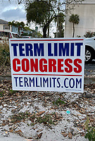 PALM BEACH, FL - FEBRUARY 28: Term limit sign on the road as Donald Trump heads to CPAC (Conservative Political Action Conference) 2021 on February 28, 2021 in Palm Beach, Florida. Credit: mpi34/MediaPunch