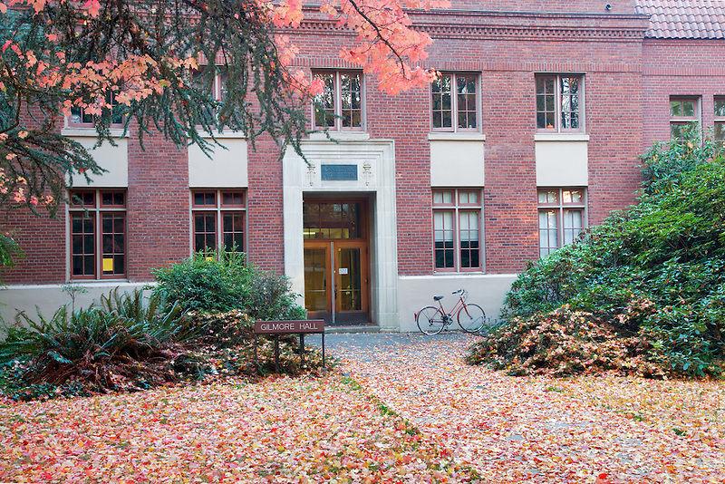 Gilmore Hall with fall color and bike. Oregon State University.