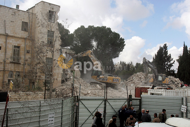 The Shepherd Hotel in the Sheikh Jarrah neighborhood in East Jerusalem is demolished on 09 January 2011. The Jerusalem Building Council last year cleared the way for the building to be turned into la new Jewish neighborhood in the middle of Arab East Jerusalem, despite condemnation from U.S. President Barack Obama's administration. Photo by Mahfouz Abu Turk