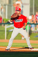 Orem Owlz first baseman Wade Hinkle (35) waits for a throw during the Pioneer League game against the Ogden Raptors at Lindquist Field on July 27, 2012 in Ogden, Utah.  The Raptors defeated the Owlz 6-3.   (Brian Westerholt/Four Seam Images)