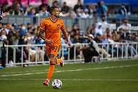 SAN JOSE, CA - JULY 24: Maximiliano Urruti #37 of the Houston Dynamo dribbles the ball during a game between San Jose Earthquakes and Houston Dynamo at PayPal Park on July 24, 2021 in San Jose, California.