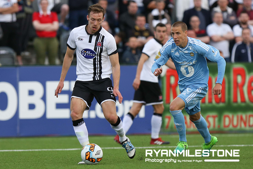UEFA Champions League Second Qualifying Round, Dundalk FC vs Rosenborg, Wednesday 12th July 2017, Oriel Park, Co Louth, David McMillan in action against Milan Jevtovic, Credit: Michael P Ryan