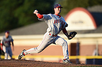 Auburn Doubledays pitcher Drew Van Orden (33) delivers a pitch during a game against the Batavia Muckdogs on August 27, 2014 at Dwyer Stadium in Batavia, New York.  Auburn defeated Batavia 6-4.  (Mike Janes/Four Seam Images)