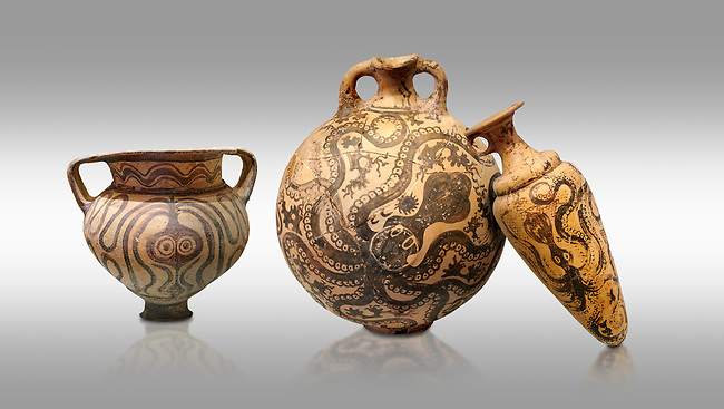 Minoan pottery with stylised octopus decorations, 1500-1400 BC, Heraklion Archaeological Museum, grey background.  <br /> <br /> From Left to right<br /> 1- Krater Episkopi Lerapetra 1370-1250 BC, <br /> 2- flask with Marine style stylised octopus design,   Palaikastro,  1500-1450 BC; <br /> 3- far right  conical rhython with Marine style stylised octopus design,   Palaikastro 1500-1450 BC;