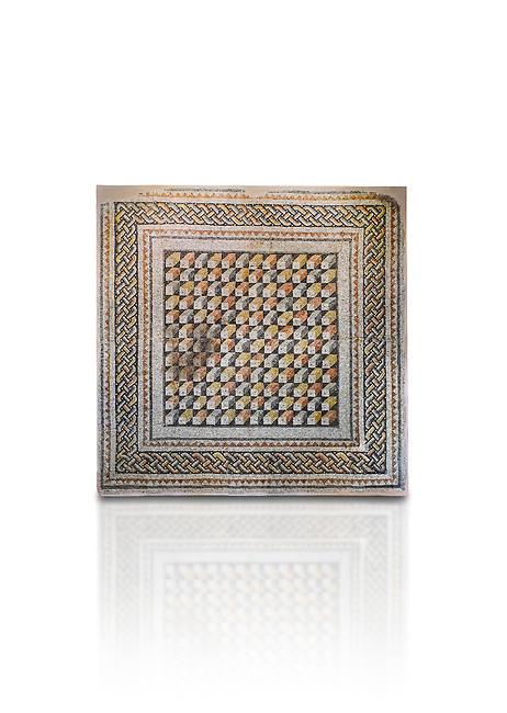 Roman mosaics -  The Bath House. The House of Oceanos, Ancient Zeugama. 3rd Century AD. Zeugma Mosaic Museum, Gaziantep, Turkey.  Against a white background.