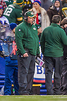 14 December 2014: Green Bay Packers Head Coach Mike McCarthy watches play from the sidelines in the fourth quarter against the Buffalo Bills at Ralph Wilson Stadium in Orchard Park, NY. The Bills defeated the Packers 21-13, snapping the Packers' 5-game winning streak and keeping the Bills' 2014 playoff hopes alive. Mandatory Credit: Ed Wolfstein Photo *** RAW (NEF) Image File Available ***