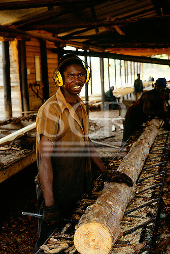 Chambeshi River, Zambia. Workers at a forestry project using a sawmill.