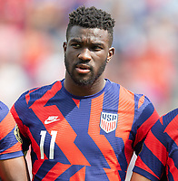 KANSAS CITY, KS - JULY 18: Daryl Dike #11 of the United States during a game between Canada and USMNT at Children's Mercy Park on July 18, 2021 in Kansas City, Kansas.