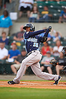 Corpus Christi Hooks outfielder Teoscar Hernandez (15) at bat during a game against the Arkansas Travelers on May 29, 2015 at Dickey-Stephens Park in Little Rock, Arkansas.  Corpus Christi defeated Arkansas 4-0 in a rain shortened game.  (Mike Janes/Four Seam Images)