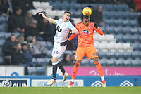 Blackburn Rovers Darragh Lenihan jumps with Ipswich Town's Collin Quaner<br /> <br /> Photographer Mick Walker/CameraSport<br /> <br /> The EFL Sky Bet Championship - Blackburn Rovers v Ipswich Town - Saturday 19 January 2019 - Ewood Park - Blackburn<br /> <br /> World Copyright © 2019 CameraSport. All rights reserved. 43 Linden Ave. Countesthorpe. Leicester. England. LE8 5PG - Tel: +44 (0) 116 277 4147 - admin@camerasport.com - www.camerasport.com