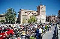 peloton riding out of Medina del Campo<br /> <br /> stage 19: Medina del Campo - Avila (186km)<br /> 2015 Vuelta à Espana