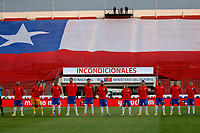 13th November 2020; National Stadium of Santiago, Santiago, Chile; World Cup 2020 Football qualification, Chile versus Peru;  Players of Chile line-up for their anthem