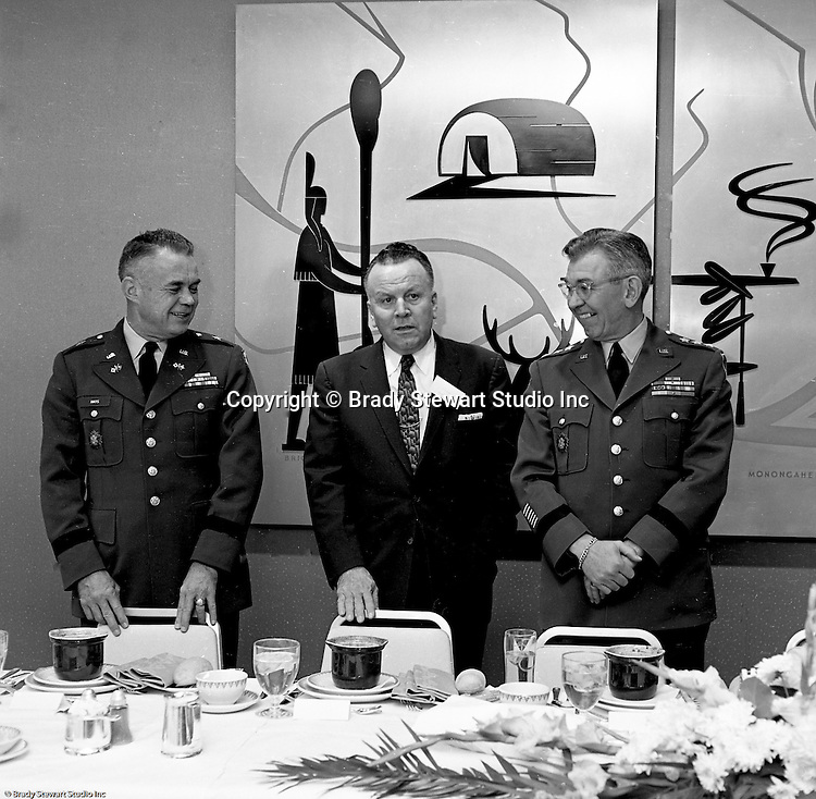 Pittsburgh PA:  US Army General Robert Wood and Government personnel held a news conference at the William Penn Hotel to announce a new command center at the Oakdale NIKE facility.  New radar was installed in 1962 to coordinate all the NIKE sites in Western Pennsylvania.  Brady Stewart Jr. was authorized to photograph the press conference and tour the new command center due to being a US Army staff photographer during WWII.