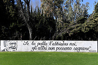 Nils Liedholm sentence  - if we have the ball, others can't score - is seen on a wall of the stadium prior to the Women Italy cup round of 8 second leg match between AS Roma and Florentia S.G. at stadio delle tre fontane, Roma, February 14, 2021. Photo Andrea Staccioli / Insidefoto