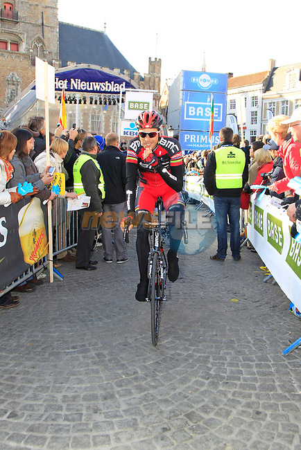 Alessandro Ballan (ITA) BMC Racing Team arrives at sign on before the start of the 96th edition of The Tour of Flanders 2012 in Bruges Market Square, running 256.9km from Bruges to Oudenaarde, Belgium. 1st April 2012. <br /> (Photo by Eoin Clarke/NEWSFILE).