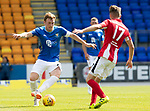 St Johnstone v East Fife…14.07.18…  McDiarmid Park    League Cup<br />Liam Craig is closed down by Ross Davidson<br />Picture by Graeme Hart. <br />Copyright Perthshire Picture Agency<br />Tel: 01738 623350  Mobile: 07990 594431