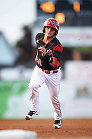 Batavia Muckdogs second baseman Sutton Whiting (49) running the bases during a game against the Staten Island Yankees on August 27, 2016 at Dwyer Stadium in Batavia, New York.  Staten Island defeated Batavia 13-10 in eleven innings. (Mike Janes/Four Seam Images)