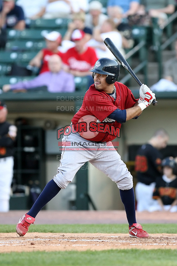 July 1st 2008:  Second baseman Oscar Robles of the Lehigh Valley IronPigs, Class-AAA affiliate of the Philadelphia Phillies, during a game at Frontier Field in Rochester, NY.  Photo by:  Mike Janes/Four Seam Images