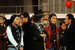 """Tokyo, Dec. 30, 2009 - Kumi KODA , Japanese boy band SMAP members Goro INAGI, Takuya KIMURA, Shingo KATORI, Tsuyoshi KUSANAGI and Hiroshi ITSUKI (from L to R, foreground) are photographed during the second day of rehearsals for 'Kohaku Uta Gassen,' or also more commonly known as 'Kohaku.' Produced by the Japanese public broadcaster, NHK, this annual music show airs on New Year's Eve and ends shortly before midnight, where everyone on air pauses to say """"Happy New Year."""" The 'Red and White Song Battle' separates the most popular music artists during each given year into teams of red and white: the red team consists of all female artists and the white team is all male artists. For an artist to perform on Kohaku, it is a great honor as only the most successful enka singers and J-Pop artist are strictly invited to perform by invitation only. Today, for a J-Pop artist or enka singer to perform on Kohaku, is most notably recognized to be a big highlight in a singer's career due to the show's large reach of audience during New Year's Eve."""