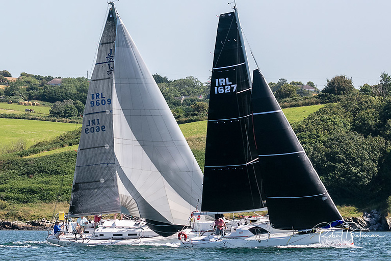 The Jones family J109 Jelly Baby to weather of the Sunfast 3300 Cinnamon girl at the Start of the Kinsale Yacht Club Fastnet Race 2021