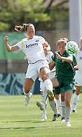 Katie Larkin #18  gets to the ball ahead of Elise Weber..Saint Louis Athletica and LA Sol played to a 0-0 tie at Robert Herman Stadium, St Louis, MO.