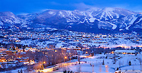 "Twilight over ""Ski town, USA"" creates a tranquil scene in Colorado's Rocky Mountains"