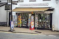 "Wales, Llangollen, Denbighshire.  A long Welsh word:  The little card shop by the bridge over the River Dee in Llangollen."""