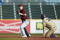 Saint Joseph's Hawks shortstop Matt Cuppari (23) looks to complete a double play as Luke Robinson (38) of the Western Carolina Catamounts slides into second base at TicketReturn.com Field at Pelicans Ballpark on February 23, 2020 in Myrtle Beach, South Carolina. The Hawks defeated the Catamounts 9-2. (Brian Westerholt/Four Seam Images)