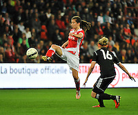 20131009 - LIEGE , BELGIUM : Standard's Sanne Schoenmakers pictured with the attempt on goal during the female soccer match between STANDARD Femina de Liege and GLASGOW City LFC , in the 1/16 final ( round of 32 ) first leg in the UEFA Women's Champions League 2013 in stade Maurice Dufrasne - Sclessin in Liege. Wednesday 9 October 2013. PHOTO DAVID CATRY