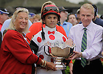 Charlotte Weber, whose Live Oak Plantation owns To Honor and Serve, is in the winner's circle after her colt's victory in the Pennsylvania Derby at  Parx Racing in Bensalem, PA, September 24, 2011. Jockey is Jose Lezcano, trainer is Bill Mott. (Joan Fairman Kanes/Eclipse Sportswire)