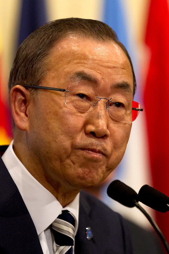 United Nations Secretay-General Ban Ki-moon speaks to the media after briefing the Security Council on a U.N. report on the use of chemical weapons in Syria, at U.N. Headquarters in New York, Monday September 16, 2013.  photo: Trevor Collens