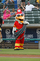 Myrtle Beach Pelicans mascot Splash Pelican dressed as a fireman on Halloween Night before a game against the Potomac Nationals at Ticketreturn.com Field at Pelicans Ballpark on July 1, 2018 in Myrtle Beach, South Carolina. Myrtle Beach defeated Potomac 6-1. (Robert Gurganus/Four Seam Images)