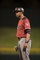 AZL Diamondbacks first base coach Hatuey Mendoza (3) during an Arizona League game against the AZL Cubs 1 at Sloan Park on June 18, 2018 in Mesa, Arizona. AZL Diamondbacks defeated AZL Cubs 1 7-0. (Zachary Lucy/Four Seam Images)